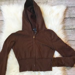 Cropped Hooded Sweatshirt Brown by Wet Seal